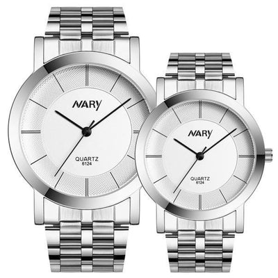 Outlet Appeal White 1 pair Men And Women Watch Single Quartz Stainless Steel Wrist Watches