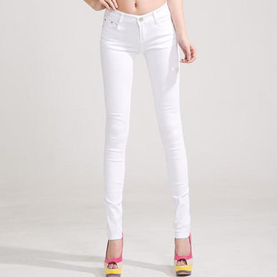 Outlet Appeal White / 25 Denim Pants Candy Color Womens Jeans Stretch Bottoms Skinny Pants For Women Trousers
