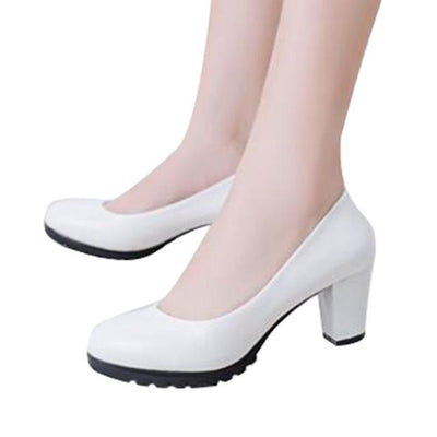 Outlet Appeal white 318 / 5 HEE GRAND Women Pumps Solid Candy Color PU Leather Shoes Square Heel Slip-ons Size 35-40 XWD2633