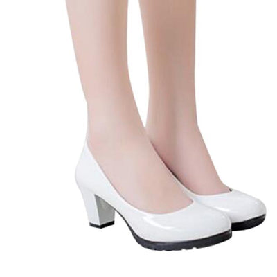 Outlet Appeal white 319 / 5 HEE GRAND Women Pumps Solid Candy Color PU Leather Shoes Square Heel Slip-ons Size 35-40 XWD2633