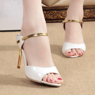 Outlet Appeal white / 4.5 High Heel Shoes Sandals Gold Silver