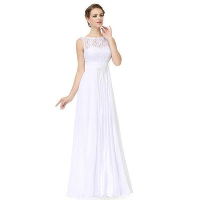 Outlet Appeal White / 4 / China Evening Dresses Gorgeous Formal Round Neck Lace Long Sexy Red Women Party