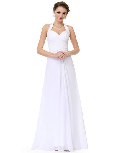 Outlet Appeal White / 4 / China Prom Dress A Line Ever Pretty Empire Halter Long Maxi Sleeveless Long Prom Dresses