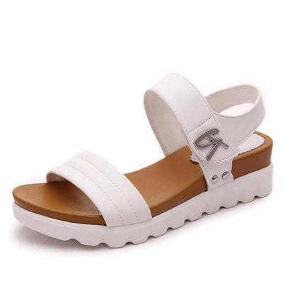 Outlet Appeal White / 4 Comfortable Faux Aged Leather Flat Gladiator Sandals