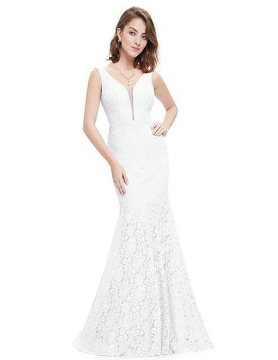 Outlet Appeal White / 4 Lace Mermaid Prom Dresses Long Ever Pretty Small Train Trumpet V-Neck Elegant