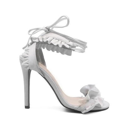 Outlet Appeal White / 5.5 / China Cross Tied Ruffled Lace-Up Thin High Heel Sandals