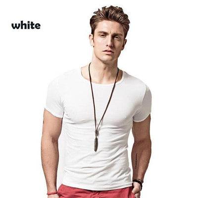 Outlet Appeal White / Asian L Covrlge Men T-shirts Solid Color Slim Fit Short Sleeve T Shirt Mens O-neck Tops TShirt