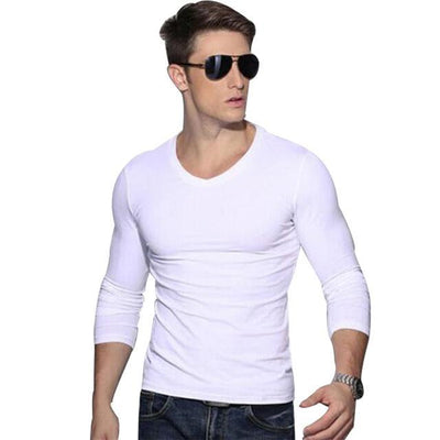 Outlet Appeal White / Asian L Solid Long Sleeve Slim V-neck T-shirt