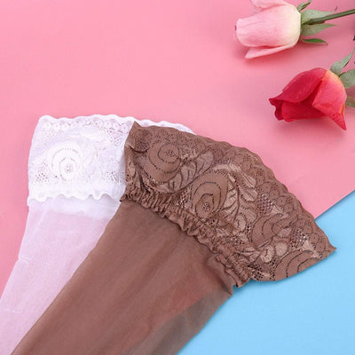 Lace Trim Anti-slip Silicone Thigh High Stockings - 3 Pairs