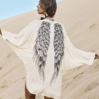 Outlet Appeal White / L Eagle Wing Print Knitwear Loose Casual Outwear Sweater