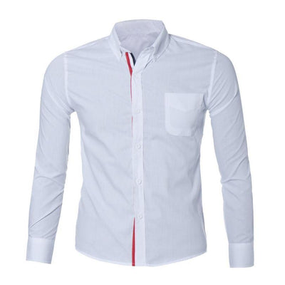 Outlet Appeal White / L Navy Blue/Light Blue/White Mens Button Shirt Slim Fit Long Sleeve Men Shirts Social Shirt