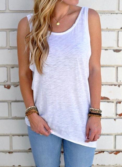 Outlet Appeal White / L Sleeveless Backless Shirt Knotted Tank Top