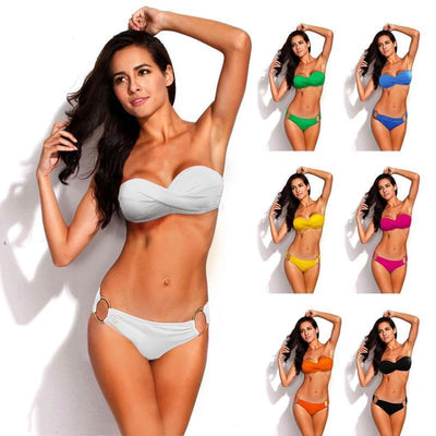 Outlet Appeal White / L Two Piece Elastic Bikini Swimsuit Sexy Padded Swimwear Swim Suit for Women