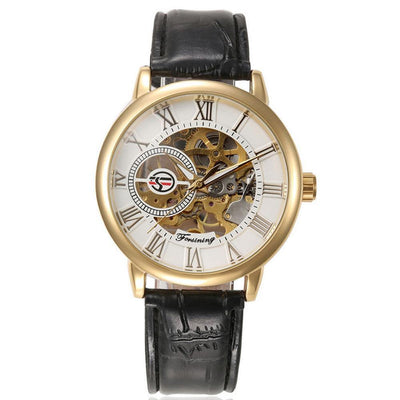 Outlet Appeal White Luxury Mens Steampunk Skeleton Stainless Steel Automatic Mechanical Wrist Watch