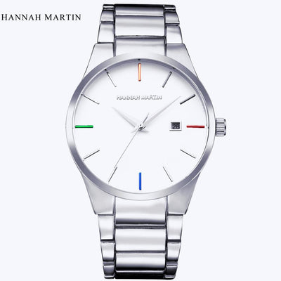 Outlet Appeal White Men Fashion Military Stainless Steel Analog Date Sport Quartz Wrist Watch