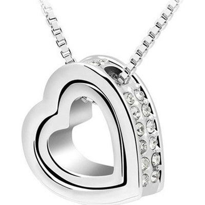 Outlet Appeal White / one-size Fashion Double Heart Crystal Rhinestone Eternal Love Silver Necklace PK