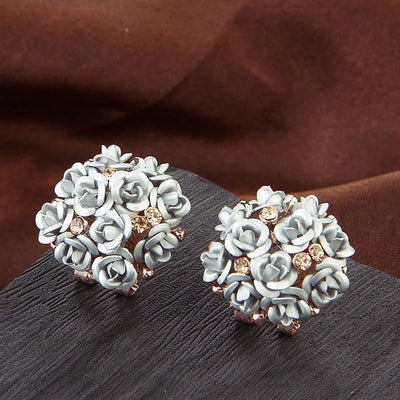 Outlet Appeal White / one-size Fashion Jewelry Bohemia Flower Rhinestone  Earrings For Women Summer Style A