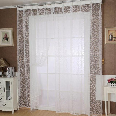 Outlet Appeal White Pteris Window Screens Curtains Door Balcony Curtain Panel Sheer Size 200cm x 100 cm
