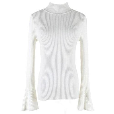 Outlet Appeal White Pullover Sweater Women Turtleneck Knitted Tops Female Knitwear Flare Sleeve Pull Jersey