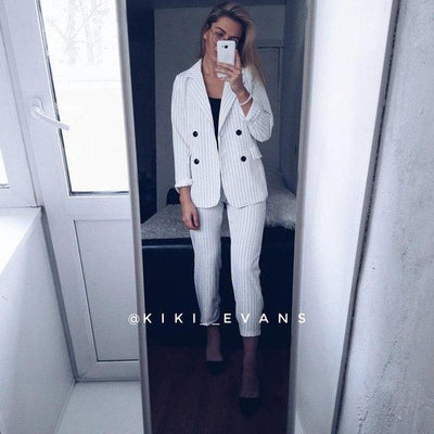 Outlet Appeal white / S Double Breasted Striped Blazer Jacket & Trouser Two Piece Pant Suit Set
