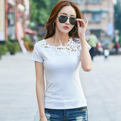 Outlet Appeal White / S Lace Hollow Out Female T-shirt Slim Shirt Casual Ladies Tops Tees