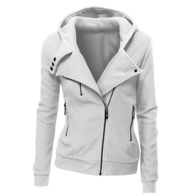 Outlet Appeal white / S Women's Slim Fit Long Sleeve Cotton Zipper Jacket Hoodie