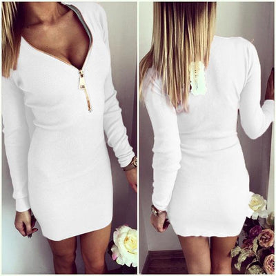 Outlet Appeal White / S Zipper V-neck Knitted Dress Long Sleeve Slim Sheath Dress - 4 Colors