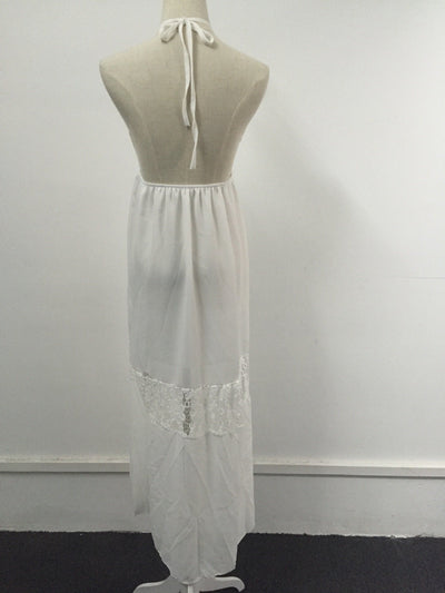 Outlet Appeal White / XL Womens Summer Deep V neck Backless Lace Strap String Halter long dress