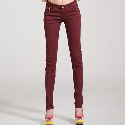 Outlet Appeal Wine red / 25 Denim Pants Candy Color Womens Jeans Stretch Bottoms Skinny Pants For Women Trousers