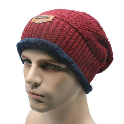 Outlet Appeal Wine Red / China Winter Warm Men Beanie Bonnet Baggy Knitted Solid Hats Plain Caps Oversize Ski Skullies Beanies Hats