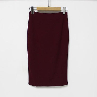 Outlet Appeal wine red / L 5 Colors Slim Open Slit Chiffon Knee-Length Midi Pencil Skirt