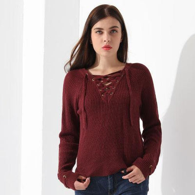 Outlet Appeal Wine red / L Sweater Women Pullover Long Sleeve Knitted Tops Women's Knitwear 2018 GAREMAY