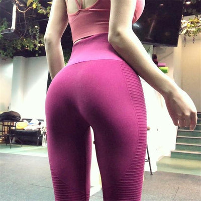 Outlet Appeal Wine Red / S 2018 Super Stretchy Gym Tights Energy Seamless Tummy Control Yoga Pants High Waist Sport Leggings Purple Running Pants Women