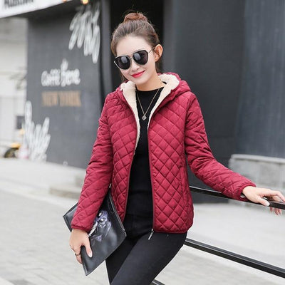 Outlet Appeal Wine Red / S Autumn 2018 New Parkas basic jackets Female Women Winter plus velvet lamb hooded Coats Cotton Winter Jacket Womens Outwear coat