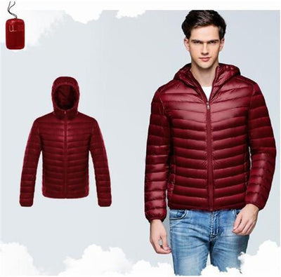 Outlet Appeal wine red / XXL / China Men Duck Down Jacket Parka Winter Hooded Down Coat