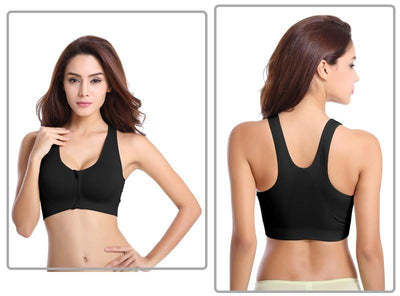 Outlet Appeal Wirefree Padded Shockproof Push Up Zipper Sports Bra