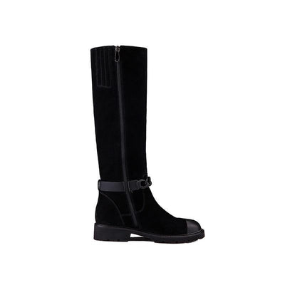 Genuine Leather Mid-calf Flat Heel Winter Boots