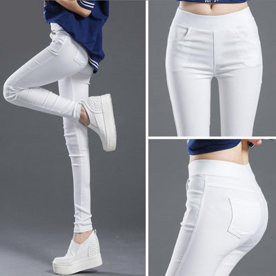 Outlet Appeal Women Pencil Pants Casual Elastic Waist Skinny Trousers Black White Stretch Pants
