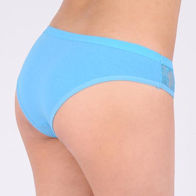 Outlet Appeal Women's Lace Panel and Bow Solid Cotton Briefs Underwear Panties