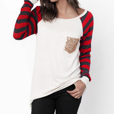 Outlet Appeal Women Stripe Patchwork Sequins Long Sleeve T-Shirt O-neck Pullover Blouse Tops