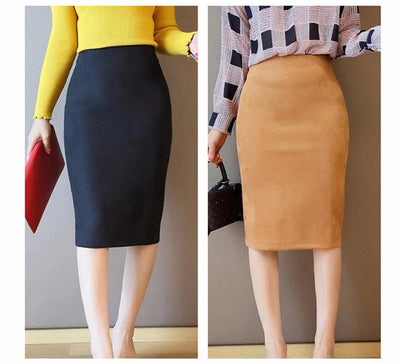 Outlet Appeal Women Suede Midi Pencil Skirts Causal High Waist Sexy Stretch Ladies Office Work Wear