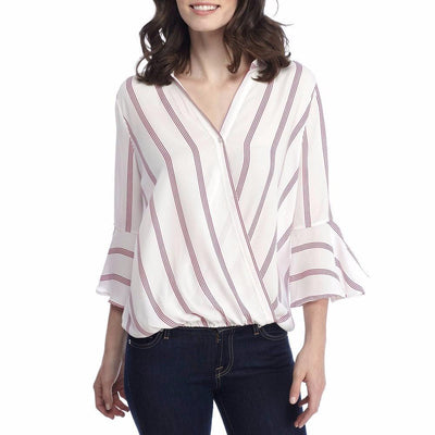 Outlet Appeal Womens Ladies Casual Striped Shirt Three Quarter Sleeve Top Tank Blouse