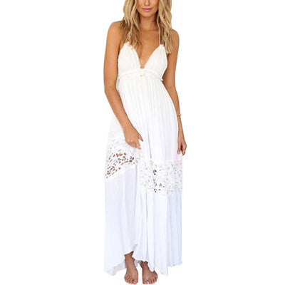 Outlet Appeal Womens Summer Deep V neck Backless Lace Strap String Halter long dress