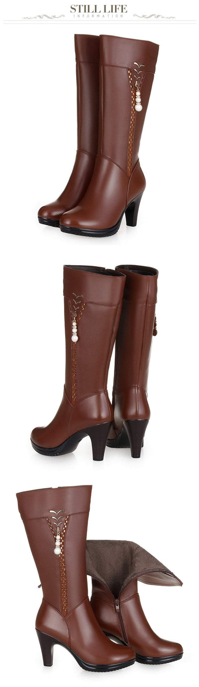 Outlet Appeal Wool Lined Winter Genuine Leather High Heel Boots