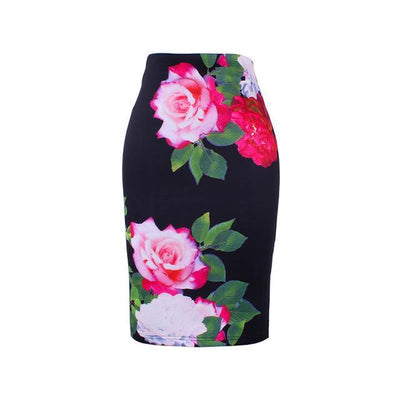 Outlet Appeal WWP0010 / XL New arrival blue Flower print women pencil skirts lady midi saias female black faldas girls slim bottoms M-XXL free shipping