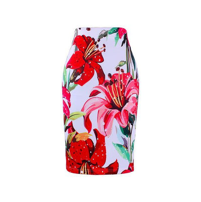 Outlet Appeal WWP0017 / XL New arrival blue Flower print women pencil skirts lady midi saias female black faldas girls slim bottoms M-XXL free shipping