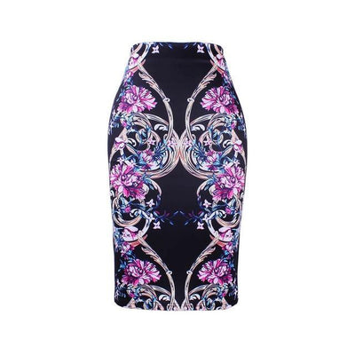 Outlet Appeal WWP0020 / XL New arrival blue Flower print women pencil skirts lady midi saias female black faldas girls slim bottoms M-XXL free shipping