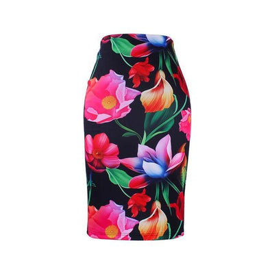 Outlet Appeal WWP0021 / XL New arrival blue Flower print women pencil skirts lady midi saias female black faldas girls slim bottoms M-XXL free shipping