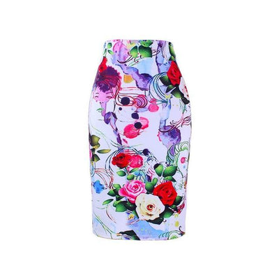 Outlet Appeal WWP0022 / XL New arrival blue Flower print women pencil skirts lady midi saias female black faldas girls slim bottoms M-XXL free shipping