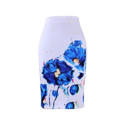 Outlet Appeal WWP0025 / XL New arrival blue Flower print women pencil skirts lady midi saias female black faldas girls slim bottoms M-XXL free shipping